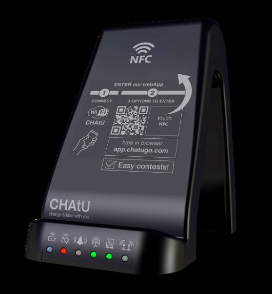 CHAtU Q5, zona Wi-Fi, mini-servidor, plataforma de participación y cargador de móviles inalámbrico